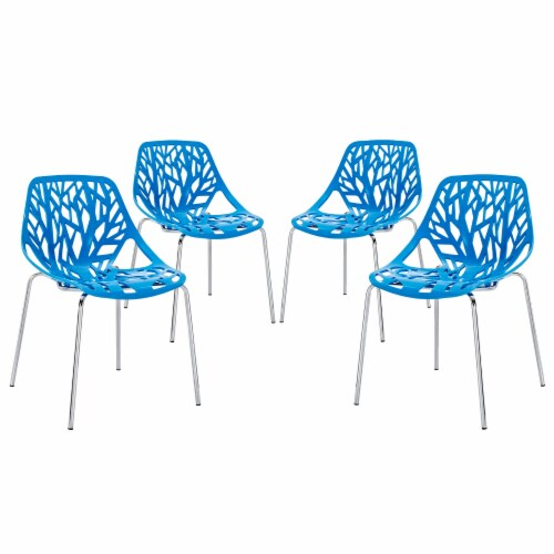 Stencil Dining Side Chair Set of 4 - Blue Perspective: front