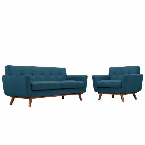 Engage Armchair and Loveseat Set of 2 - Azure Perspective: front