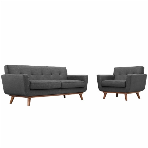 Engage Armchair and Loveseat Set of 2 - Gray Perspective: front
