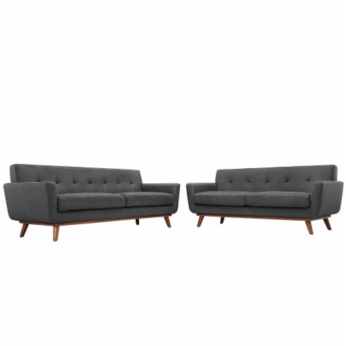Engage Loveseat and Sofa Set of 2 - Gray Perspective: front