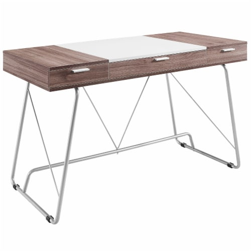 Panel Office Desk - Birch Perspective: front