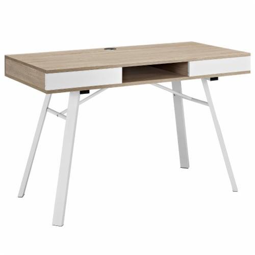 Stir Office Desk - Oak Perspective: front