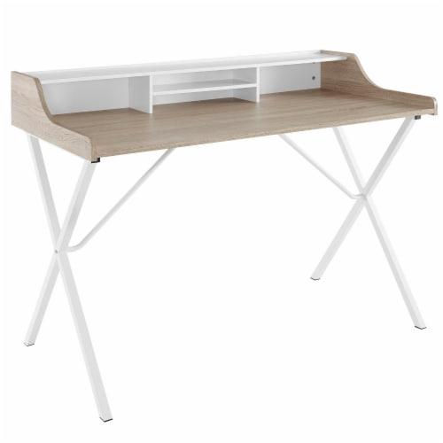 Bin Office Desk - Oak Perspective: front