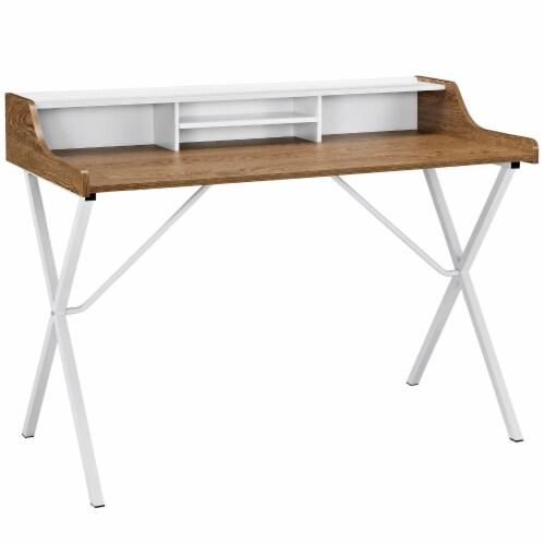 Bin Office Desk - Walnut Perspective: front