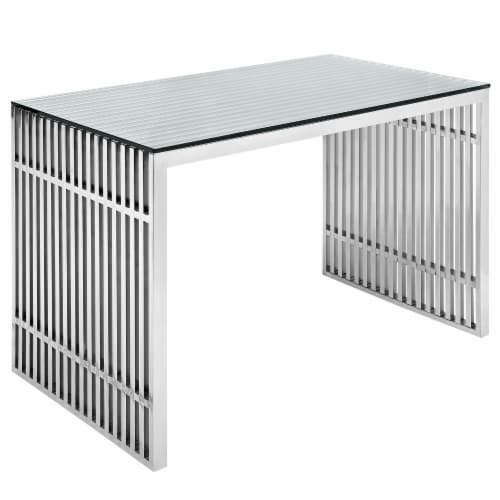 Gridiron Stainless Steel Office Desk - Silver Perspective: front