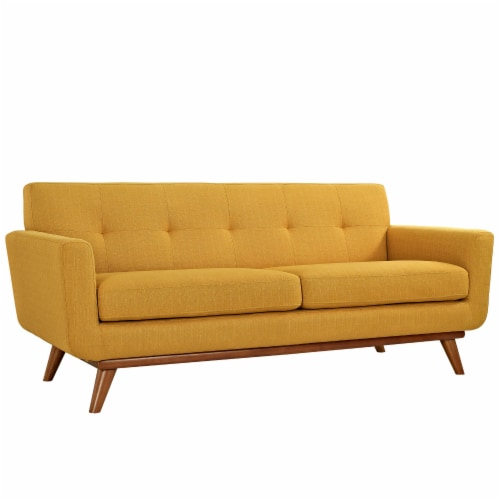 Engage Upholstered Fabric Loveseat - Citrus Perspective: front