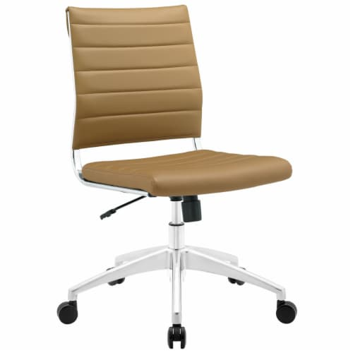 Tan Jive Armless Mid Back Office Chair Perspective: front
