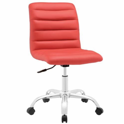 Ripple Armless Mid Back Office Chair, EEI-1532-RED Perspective: front