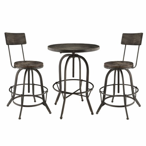 Gather 3 Piece Dining Set - Black Perspective: front