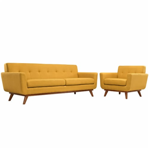 Engage Armchair and Sofa Set of 2 - Citrus Perspective: front