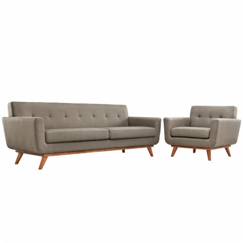Engage Armchair and Sofa Set of 2 - Granite Perspective: front