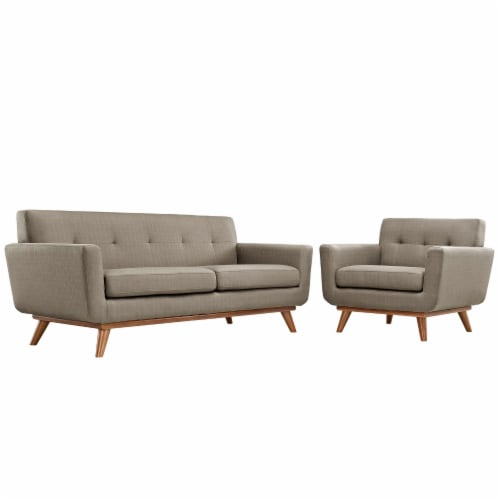 Engage Armchair and Loveseat Set of 2 - Granite Perspective: front
