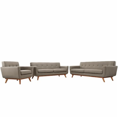 Engage Sofa Loveseat and Armchair Set of 3 - Granite Perspective: front