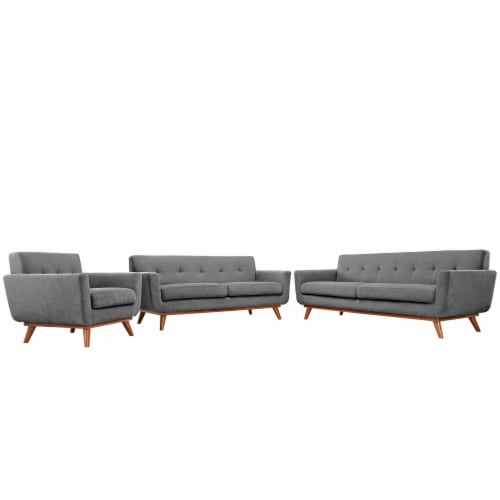 Engage Sofa Loveseat and Armchair Set of 3 - Expectation Gray Perspective: front