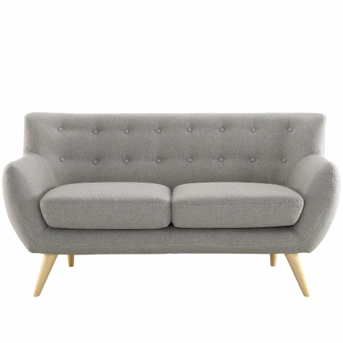 Remark Upholstered Fabric Loveseat - Light Gray Perspective: front