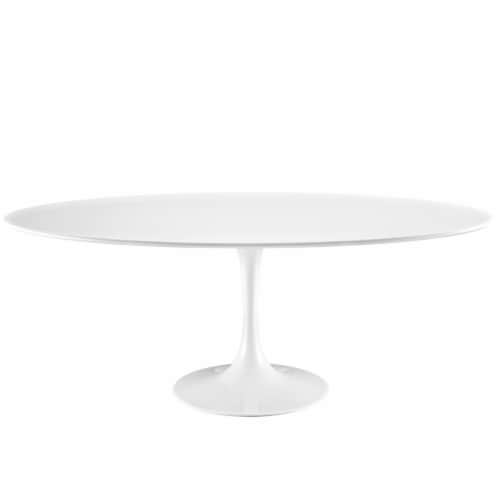 """Lippa 78"""" Oval Wood Top Dining Table - White Perspective: front"""