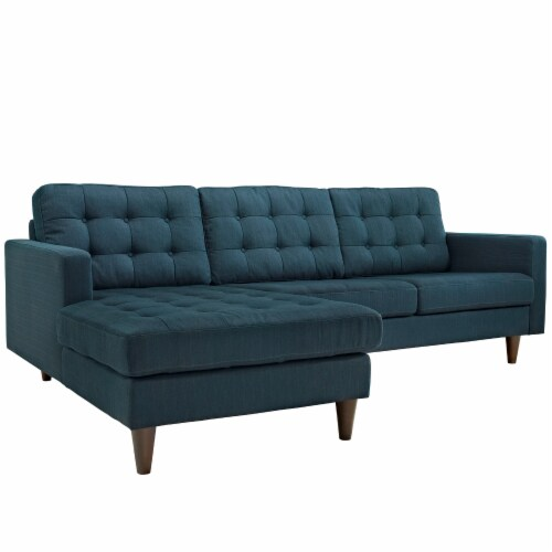 Empress Left-Facing Upholstered Fabric Sectional Sofa - Azure Perspective: front
