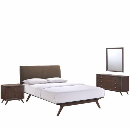 Tracy 4 Piece Queen Bedroom Set - Cappuccino Brown Perspective: front