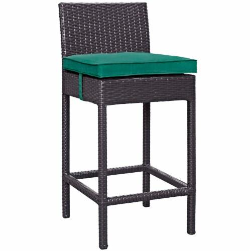 Convene Outdoor Patio Fabric Bar Stool - Espresso Green Perspective: front