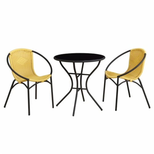 Parven All-Weather Aluminum Bistro Set with 2 Yellow Papasan Chairs and Table Perspective: front