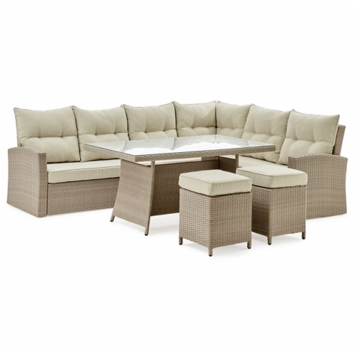Canaan All-Weather Wicker Outdoor Set with Sofa Loveseat Table and 2 Stools Perspective: front