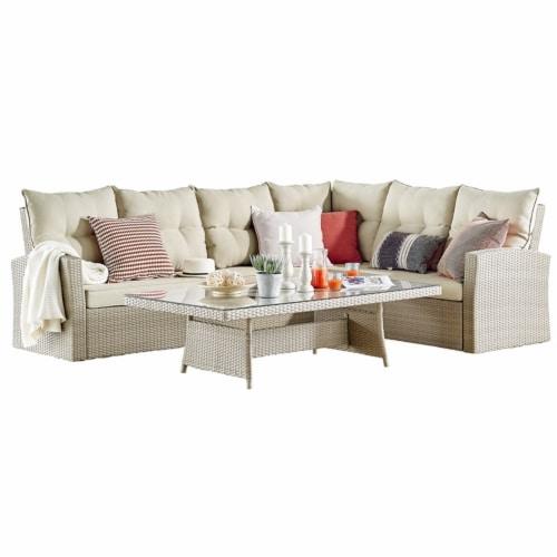 """Canaan Outdoor Wicker Corner Sectional Loveseat and Sofa with 57""""""""L Coffee Table Perspective: front"""