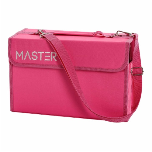 Master Marker 80 Slot Premium Nylon Marker & Lipstick Storage Case Hot Pink Perspective: front