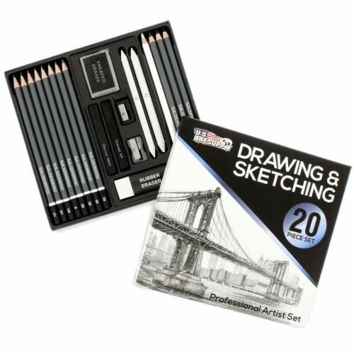 20 Piece Artist Sketch Set with Storage Case - Sketch & Charcoal Pencils, Pastel, & Stumps Perspective: front