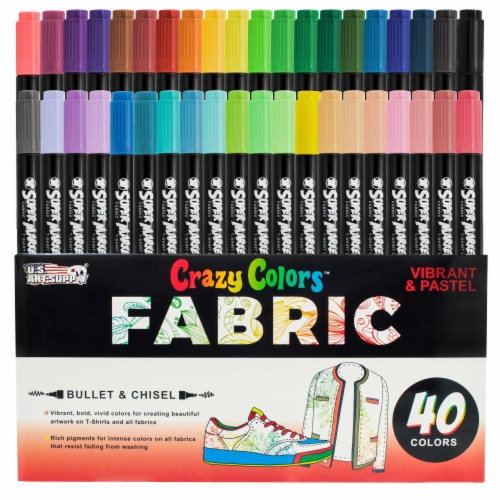 40 Primary & Pastel Colors Dual Tip Fabric & T-Shirt Marker Set - Chisel and Fine Point Tips Perspective: front
