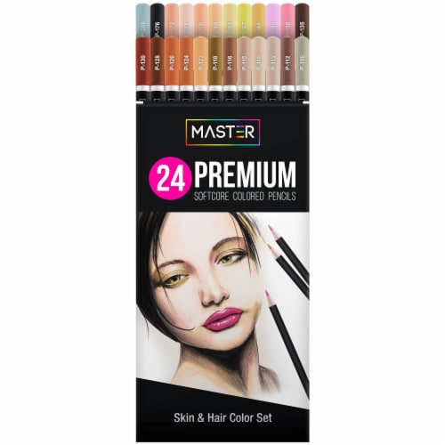24 Colored Pencil Skin and Hair Tone Set - Ultra-Smooth Artist Quality, Vibrant Colors Perspective: front
