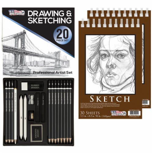 20-Piece Artist Sketch Set with Storage Case - Sketch & Charcoal Pencils, Stumps & Paper Pads Perspective: front