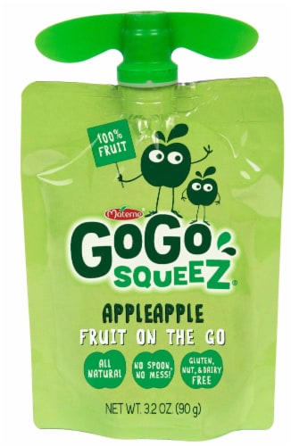 GoGo SqueeZ Apple Apple On the Go Apple Sauce, 3.2 Ounce -- 48 per case. Perspective: front