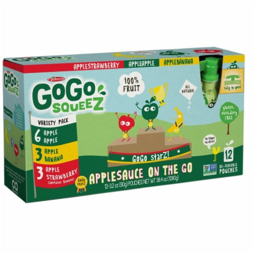 GoGo SqueeZ Variety Pack On the Go Apple Sauce, 3.2 Ounce -- 72 per case. Perspective: front