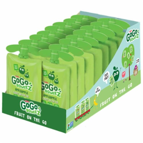 GoGo SqueeZ Apple Apple On the Go Apple Sauce, 3.2 Ounce -- 18 per case. Perspective: front