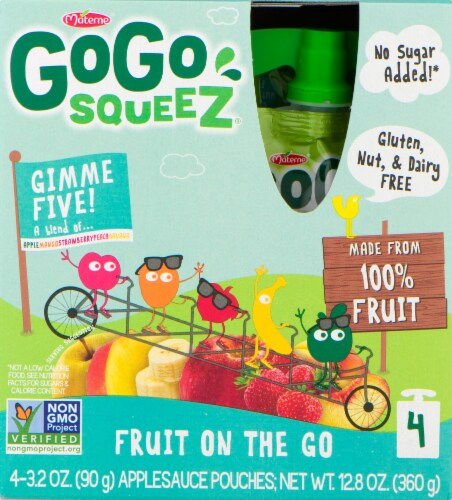 GoGo SqueeZ Gimme Five Applesauce Pouches Perspective: front