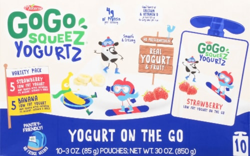 GoGo SqueeZ Yogurtz Strawberry Banana Pouches Perspective: front