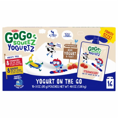GoGo Squeez Yogurtz Strawberry and Banana Yogurt Pouch Variety Pack Perspective: front