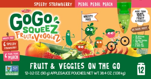 GoGo Squeez Fruits and Veggies Applesauce Pouches Variety Pack Perspective: front