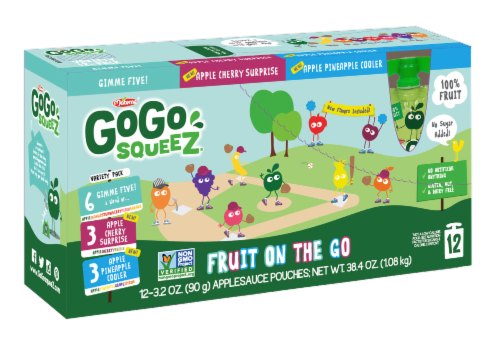 GoGo SqueeZ Apple Cherry & Gimme Five & Apple Pineapple Variety Pack Perspective: front