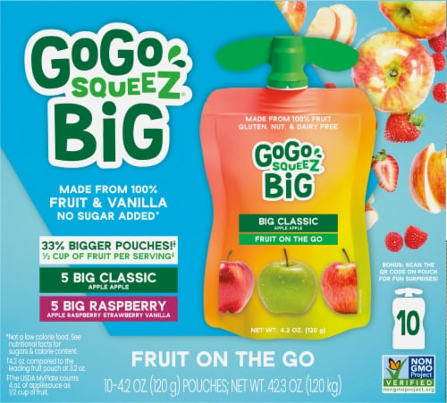 GoGo SqueeZ Big SqueeZ Apple & Raspberry Applesauce Pouches Perspective: front