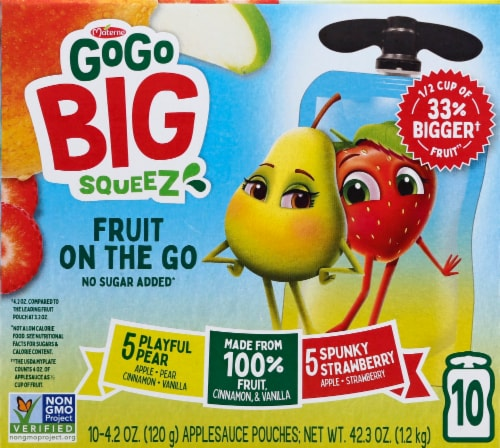 GoGo Squeez Big Squeez Playful Pear and Spunky Strawberry Applesauce Pouches Perspective: front