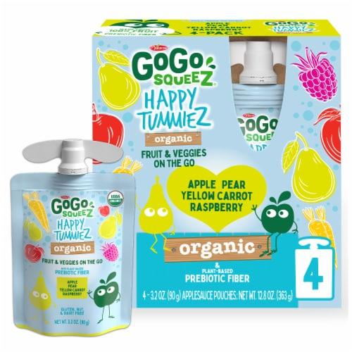 GoGo Squeez Happy TummieZ Apple Pear Yellow Carrot Raspberry Organic Fruit & Veggie Pouch Perspective: front