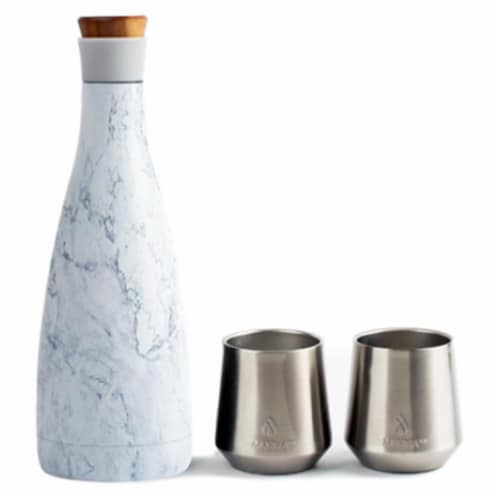 Core Home 243608 50 oz White Marble Carafe with 2 Double Wall Vacuum Insulated Cups Perspective: front