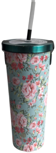 Manna Chilly Tumbler - Teal Flowers Perspective: front