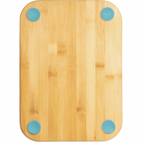 Core Bamboo 9.5 In. Square Natural Nostalgia Foot Grip Cutting Board DBC27695 Perspective: front