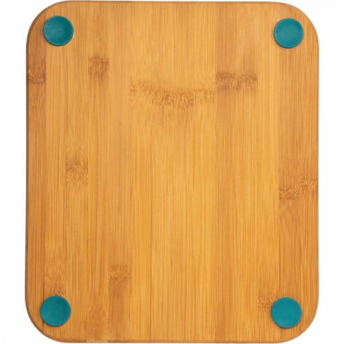 Core Bamboo 12 In. Square Natural Lake Blue Foot Grip Cutting Board DBC27696 Perspective: front