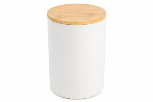 Core Home Medium Textured Canister - White Perspective: front