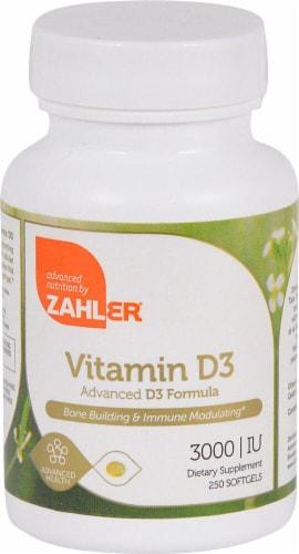 Zahler Vitamin D3 Softgels 3000IU Perspective: front