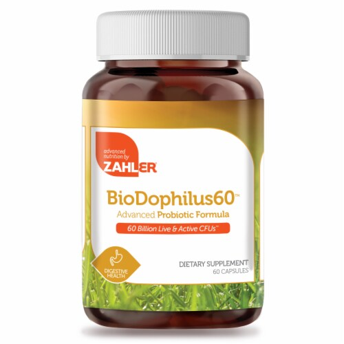 Zahler BioDophilus60™ Advanced Probiotic Formula Dietary Supplement Capsules Perspective: front