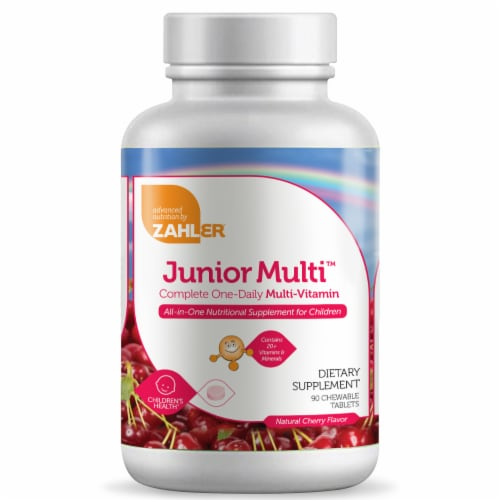 Zahler Junior Multi™ Natural Cherry Flavor Complete One-Daily Multi-Vitamin Chewable Tablets Perspective: front